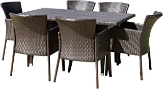 Christopher Knight Home Maple | 7 Piece Wicker Outdoor Dining Set | Perfect for Patio | in Multibrown