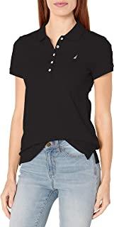 NAUTICA Womens 9300ZK 5-Button Short Sleeve Breathable 100% Cotton Polo Shirt Short Sleeve Polo Shirt - Black - Large