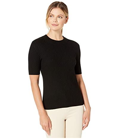 Pendleton Short Sleeve Merino Rib Pullover (Black) Women