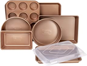 G & S Metal Products Company FT8PC Family Traditions Copper Non-Stick 8-Piece Bakeware Set-Includes Commercial Weight Loaf...