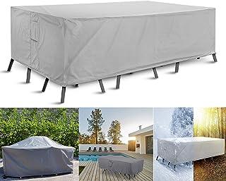 JT-House Waterproof Garden Furniture Cover, Outdoor Rectangle Sofa Table Set Cover, UV Block Windproof Dustproof Outdoor F...