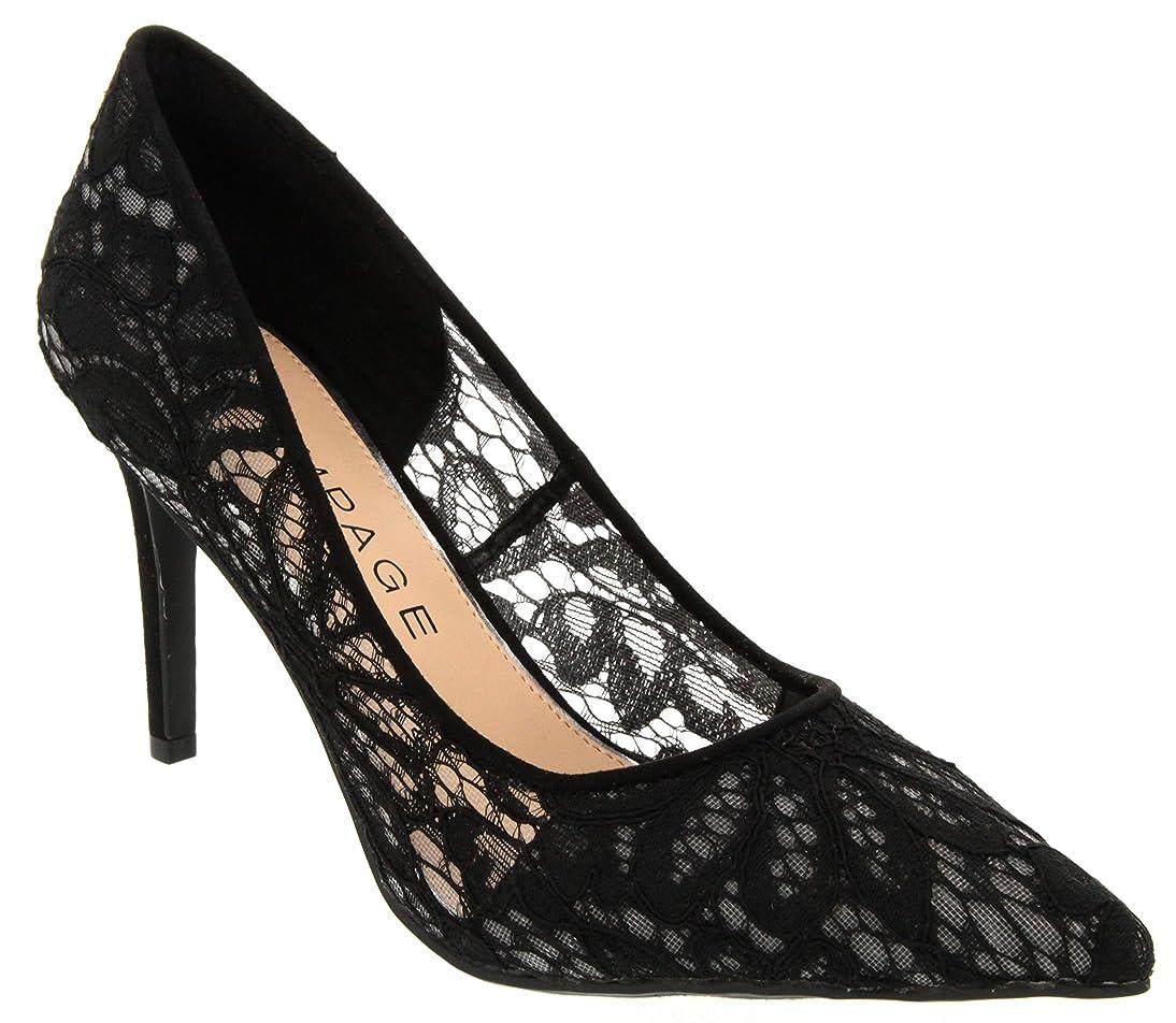 Rampage Women's Fabre Heel Pointed Toe Pump Dress Shoe Sandal flsp849420654194