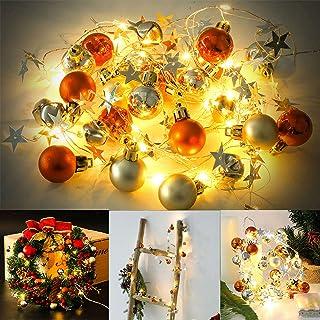 Fansport 20 LED Luces Navidad Bolas,6.56FT Guirnald Luces Versátiles Luces para Ddecoración Navidad,Fiestas,Celebraciones,Bblanco Cálido [No Incluidas 3 Pilas AA]
