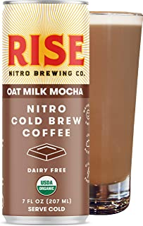 RISE Brewing Co. | Oat Milk Mocha Nitro Cold Brew Latte (12 7 fl. oz. Cans) - USDA Organic, Non-GMO | Vegan & Dairy Free | Draft Nitrogen Pour, Clean Energy, Low Acidity & Refreshingly Smooth