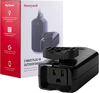Honeywell Z-Wave Plus Outdoor On/Off Light and Appliance Switch, Single Grounded Outlet Plug-In | 1 Weather Resistant Outlet Cover | ZWave Hub Required - SmartThings, Wink, and Alexa Compatible, 39346