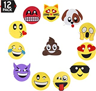 Emoji Party Masks 12 Pack, For Party Favors and Giveaways by Big Mo's Toys