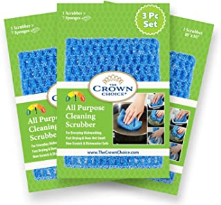 The Crown Choice NO Odor Dish Cloth for All Purpose Dish Washing (3PK) | No Mildew Smell from Sponges, Scrubbers, Wash Clo...