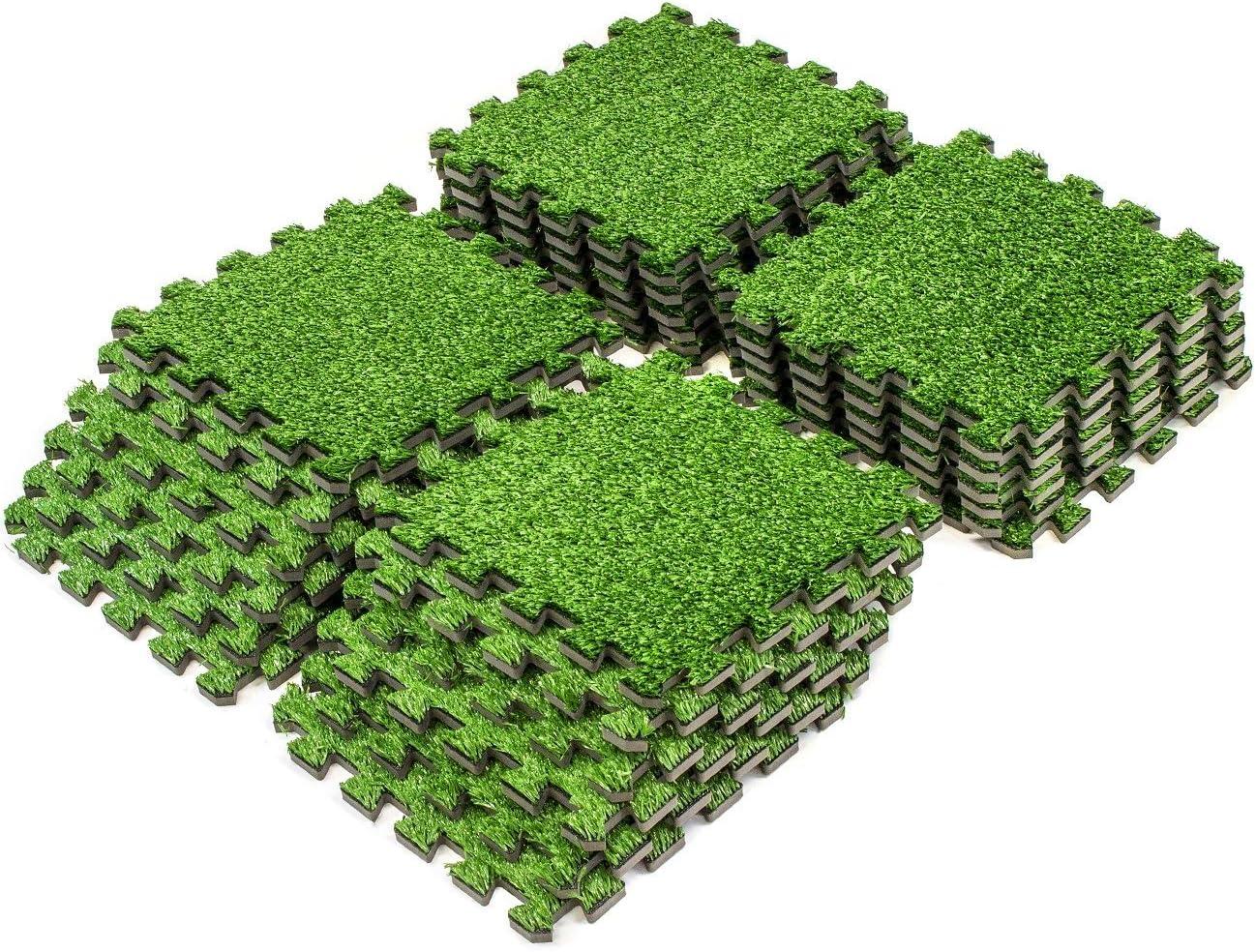 Sorbus Grass Mat Interlocking Floor Tiles   Soft Artificial Grass ...