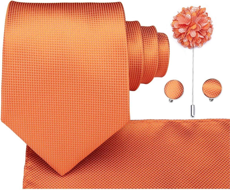 Neckties Set 8.5cm Men Tie Solid Orange Neck Ties Set Boutonniere Pocketware Cufflink Gift Box for Wedding Party Suit Cravat