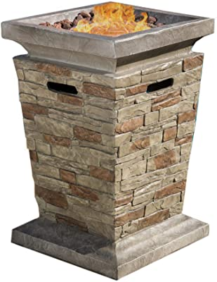 "Christopher Knight Home 296656 Laguna MGO Fire Column - 40,000 BTU, 19.5"", Natural Stone"