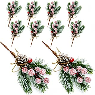Christmas Berries Pine Cones for DIY Crafts-Christmas Tree Picks Small Spot Spray Evergreen Artificial Pine Branches Holly...