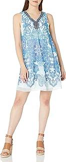Sandra Darren Women's Sleeveless Printed Chiffon Necklace Trapeze Dress
