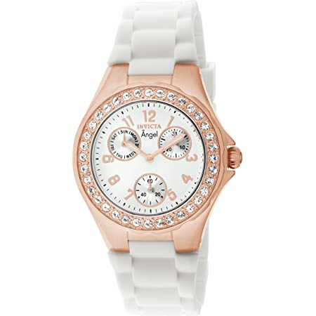 Invicta Women's Angel Rose Gold Tone Case with White Dial Crystal Accented Quartz Watch, Rose Gold (Model: 1646)