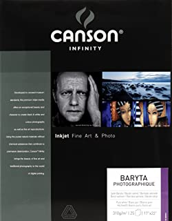 Canson 200002274 Infinity Baryta Photographique Fine Art Photo Paper, Acid Free, Idea for Inkjet Portraits, 17 x 22 Inch, White, 25 Sheets