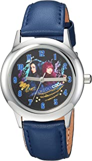DISNEY Boys Descendants 2 Stainless Steel Analog-Quartz Watch with Leather-Synthetic Strap, Blue, 16 (Model: WDS000252