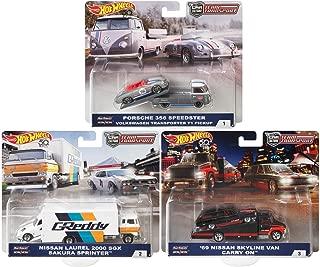 2018 Hot Wheels 50th Anniversary Car Culture Team Transport 3 Car Set, VW Transporter T1 Pickup, Sakura Sprinter, Carry On 1/64 Scale Diecast Vehicles