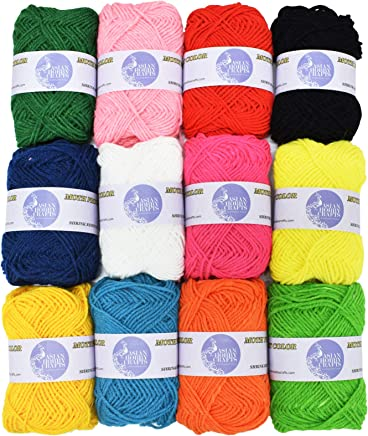 Asian Hobby Crafts 12pcs Combo Wool Ball. Hand Knitting Art Craft Soft Fingering Crochet Hook Yarn, Needle Knitting Thread Dyed