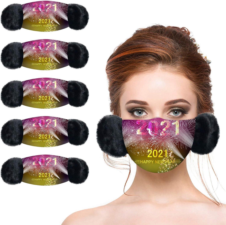 Nopeak 50/100PCS Christmas Face Bandanas for Adults,Windproof Anti-Haze Face Scarf for Women,3Ply Printed Bandanas