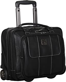 """Kenneth Cole Reaction Women's Casual Fling Pebbled Faux Leather 16"""" Laptop Wheeled Business Travel Carry-On Tote, Black"""