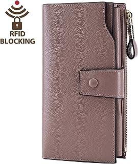 Itslife Women s RFID Blocking Large Capacity Luxury Wax Genuine Leather  Clutch Wallet Card Holder Organizer Ladies 6597e92fb7760
