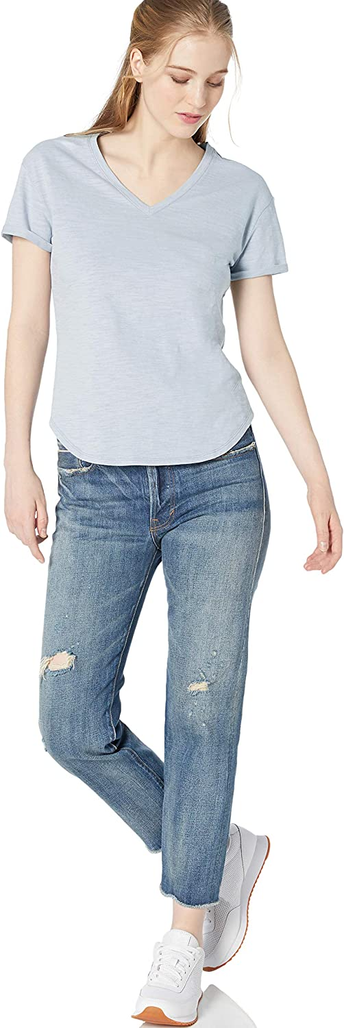 Brand Daily Ritual Womens Lived-in Cotton Roll-Sleeve V-Neck T-Shirt