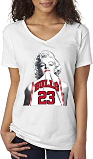 193 - Women's V-Neck T-Shirt Marilyn Monroe Bulls 23 Jordan Jersey