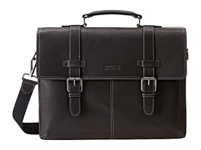 Kenneth Cole Reaction Flappy Go Lucky Colombian Leather Flapover Brief (Black) Briefcase Bags