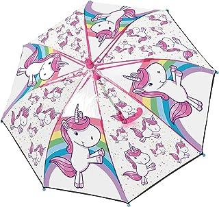 Stockschirm mit Einhorn Motiv, Regenschirm für Mädchen, manuelle Öffnung und Fiberglasgestell Paraguas clásico, 62 cm, Multicolor (Bunt)