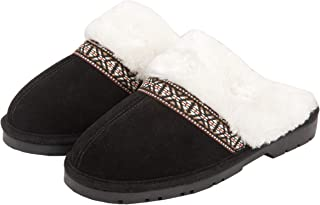 Women's Suede Plush Slip on Scuff House Slipper with Indoor/Outdoor Sole