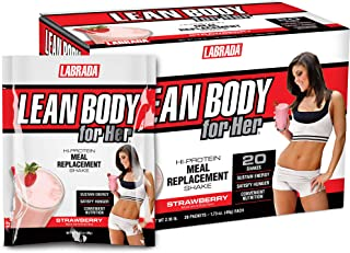 Lean Body for Her All-in-One Strawberry Meal Replacement Shake. 30g Protein, Whey Blend, Just 9g Carbs, 22 Vitamins and Mi...