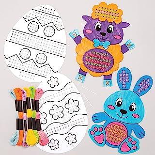 Baker Ross AT505 Kits Punto de Cruz Pascua para Colorear - Juego de manualidades para niños (paquete de 5)