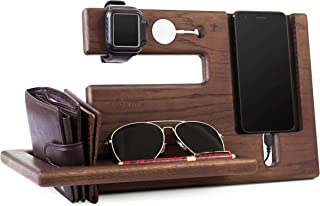 Wood Phone Docking Station Oak Recess Key Holder Wallet Stand Watch Organizer Men Gift Husband Wife Anniversary Dad Birthday Nightstand Purse Tablet Boyfriend Father Graduation Male Travel Idea Gadget