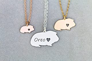 Guinea Pig Necklace - IBD - Personalize Name Date - Pendant Size Options - 935 Sterling Silver 14K Rose Gold Filled