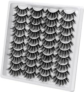 SEXYSHEEP False Eyelashes 20 Pairs Mink Faux Eyelashes Dramatic Fake Eyelashes Fluffy Lashes Pack Reusable Handmade Soft L...
