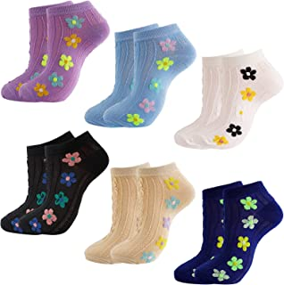 Anjetan Flower Trainer Socks Ladies: Cute Cotton Ankle Socks Womens 4-7 Soft And Breathable Low Cut No Show Socks 6 Pairs