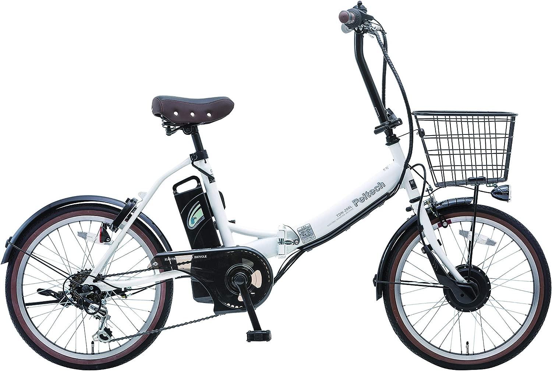 PELTECH(ペルテック) 折り畳み電動アシスト自転車 20インチ折り畳み外装6段変速 ホワイト【簡易組立必要品】(TDN-206)