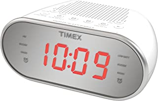 "Timex Am/FM Dual Alarm Clock Radio with Digital Tuning 1.2"" Red LED Display and Line-In Jack Radio Alarm Clock White (T2312W)"