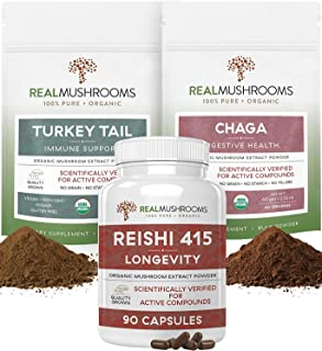 Real Mushrooms Supplements for Digestive Health, Immune Support, Longevity Booster Bundle - Chaga Organic Extract Powder (...