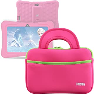 "TabSuit 7"" Tablet Bag Compatible for Dragon Touch Y88X Plus/Y88X/M7 Kids Tablet, Dragon Touch S7/S8 Tablet Ultra-Portable Neoprene Zipper Carrying Sleeve Case Bag with Accessory Pocket- Pink"
