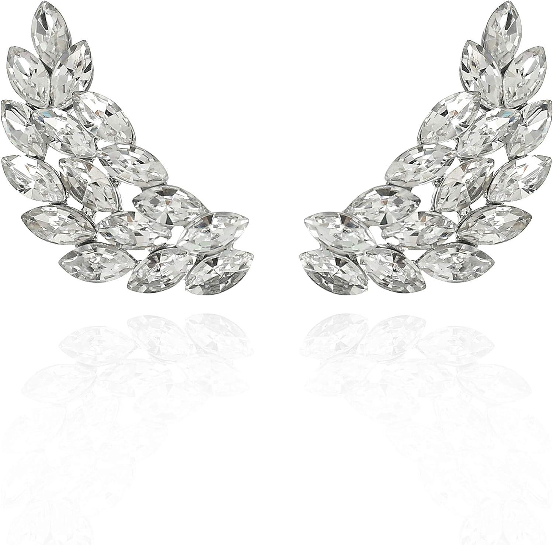 SP SOPHIA COLLECTION Women's Angel Wings Cluster Ear Post Crawler Cuff Statement Earrings