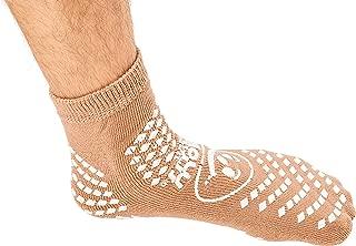 XL Tan Slip Stop Socks (Double Tread) (Terrycloth) (Extra Large) (2 Pairs)