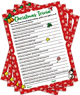 55 Pieces Christmas Trivia Party Game Xmas Festival Trivia Card Christmas Holiday Guessing Activity Festive Party Supplies...