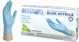 AMMEX - MNPF48100-BX - Mint Scented Nitrile Gloves - Disposable, Powder Free, Exam, 3 mil, Small, Extra Large (Box of 100)