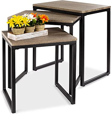 Best Choice Products 3-Piece Modern Stackable Nesting Coffee Accent End Table Living Room Furniture Set - Brown
