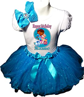 Doc McStuffins Birthday Party Dress 9th Birthday Turquoise Tutu Outfit Shirt
