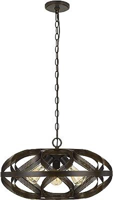 Benjara Round Metal Mesh Design Pendant Fixture with Chain, Dark Bronze