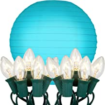 "LumaBase Patio Lawn Tree Hanging Electric String Light Cord with Round Paper Lanterns (10"""") Bluebell Turquoise 10Ct"