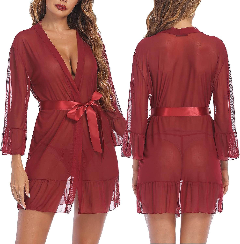 Avidlove Sexy Robes for Women Babydoll Lingerie Mesh Chemise Nig