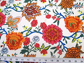 Discount Fabric Printed Jersey Knit ITY Stretch Pink Orange White Floral E300