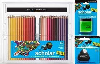 Prismacolor Scholar Colored Pencil and Accessory Set, Set of 60 Scholar Colored Pencils, One Scholar Colored Pencil Sharpener, and One Scholar Eraser